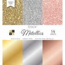 "DCWV Metallics Washi Tape 6""x6"" Stack 14 sheets PS-005-00553"