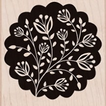 Hero Arts Large Floral Scallop Wood Mounted Rubber Stamp F5363