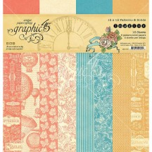 """Graphic 45 Imagine Patterns & Solids 12""""x12"""" Paper Pad 16 sheets 4501718"""
