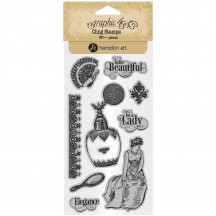 Graphic 45 Portrait of a Lady 2 Rubber Cling Stamp Set IC0381