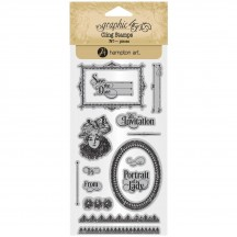 Graphic 45 Portrait of a Lady 3 Rubber Cling Stamp Set IC0382