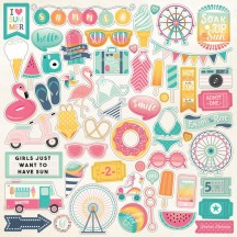 "Echo Park Summer Dreams 12""x12"" Element Shape Stickers DR126014"