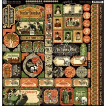 """Graphic 45 Master Detective 12""""x12"""" Die-cut Cardstock Element Stickers 4501576"""