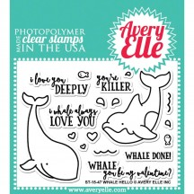 "Avery Elle Whale Hello 3""x4"" Clear Stamp Set ST-15-47"