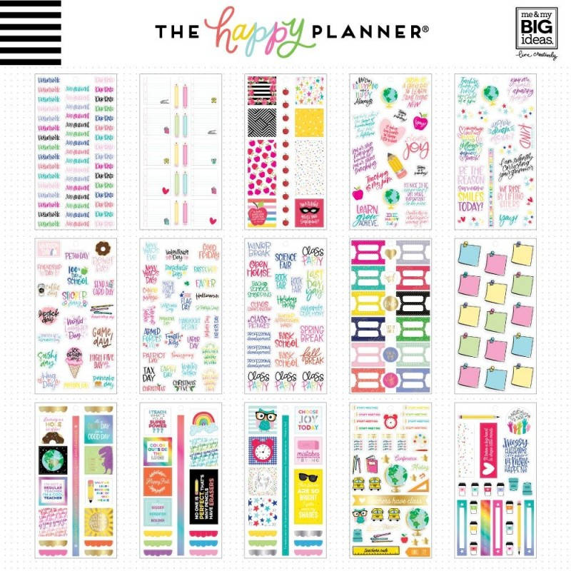 Me & My Big Ideas The Happy Planner Teachers Rule Value Pack Stickers  PPSV-70
