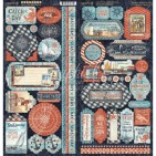 """Graphic 45 Catch of the Day 12""""x12"""" Die-cut Cardstock Element Stickers 4502179"""