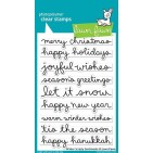 "Lawn Fawn Winter Scripty Sentiments 4""x6"" Clear Christmas Stamps LF1773"