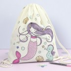 Creativ DIY Mermaid  Drawstring Bag & Fabric Markers Kit