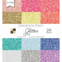 """DCWV Glitter 6""""x6"""" Cardstock Stack 24 sheets PS-005-00556"""