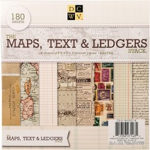 "DCWV The Maps, Text & Ledgers Stack 8""x8"" - 180 sheets"