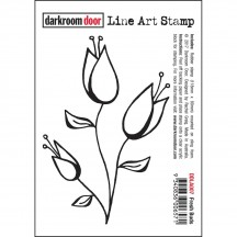 Darkroom Door Rubber Fresh Buds Line Art Stamp - DDLA007