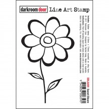 Darkroom Door Rubber Sweet Bloom Line Art Stamp - DDLA009