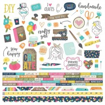"Simple Stories Crafty Girl 12""x12"" Combo Element & Word Cardstock Stickers 10001"