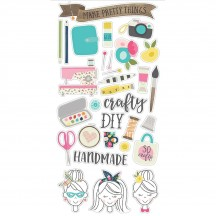 Simple Stories Crafty Girl Self Adhesive Chipboard Shape Stickers 10008