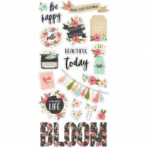 Simple Stories Bloom Self Adhesive Chipboard Shape Stickers 10055