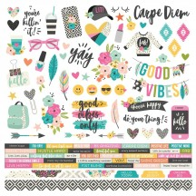 """Simple Stories Good Vibes 12""""x12"""" Combo Element & Word Cardstock Stickers 10081"""