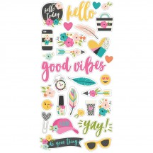 Simple Stories Good Vibes Self Adhesive Chipboard Shape Stickers 10089