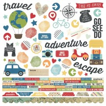 "Simple Stories Travel Notes 12""x12"" Combo Element & Word Cardstock Stickers 10094"