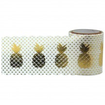 Little B Wide Gold Foil Pineapple Designer Washi Tape 15m 101061