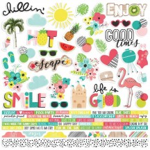 """Simple Stories Hello Summer 12""""x12"""" Combo Element & Word Cardstock Stickers 10138"""