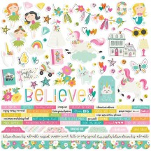 "Simple Stories Dream Big 12""x12"" Combo Element & Word Cardstock Stickers 10207"