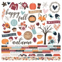 "Simple Stories Forever Fall 12""x12"" Combo Element & Word Cardstock Stickers 10268"