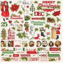 "Simple Stories Simple Vintage Christmas 12""x12"" Combo Element & Word Cardstock Stickers 10332"