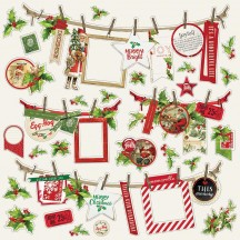 """Simple Stories Simple Vintage Christmas 12""""x12""""  Banner Cardstock Stickers 10333"""