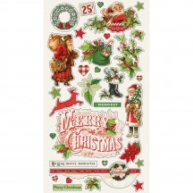 Simple Stories Simple Vintage Christmas Self Adhesive Chipboard Shape Stickers 10347