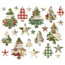 Simple Stories Simple Vintage Christmas Bits & Pieces Trees & Stars Die-Cut Cardstock Ephemera Pieces 10349
