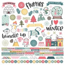 "Simple Stories Freezin' Season 12""x12"" Combo Element & Word Cardstock Stickers 10359"