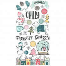 Simple Stories Freezin' Season Self Adhesive Chipboard Shape Stickers 10372