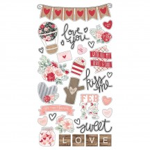Simple Stories Kissing Booth Self Adhesive Chipboard Shape Stickers 10391