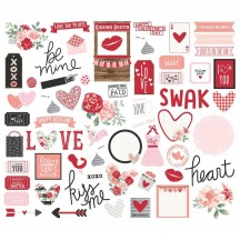Simple Stories Kissing Booth Bits & Pieces Die-Cut Cardstock Ephemera Pieces 10392