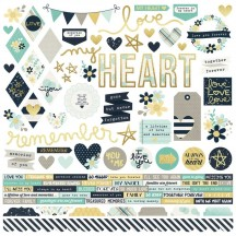 "Simple Stories Heart 12""x12"" Combo Element & Word Stickers 10499"