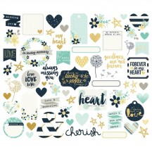 Simple Stories Heart Bits & Pieces Die-Cut Cardstock Embellishments 10513