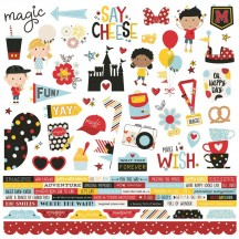 "Simple Stories Say Cheese 4 12""x12"" Combo Element & Word Stickers 10523"