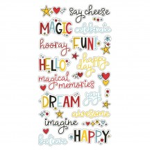 Simple Stories Say Cheese 4 Self Adhesive Chipboard Word Stickers 10537