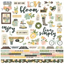 "Simple Stories Spring Farmhouse 12""x12"" Combo Element & Word Stickers 10584"