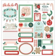 """Crate Paper Busy Sidewalks Christmas 12""""x12"""" Self Adhesive Chipboard Accents 34010596"""