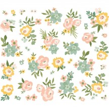 Simple Stories Spring Farmhouse Floral Bits & Pieces Die-Cut Cardstock Embellishments 10604