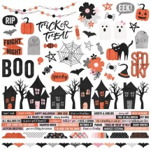 "Simple Stories Happy Haunting Halloween 12""x12"" Combo Element & Word Stickers 10901"