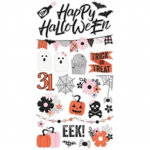 Simple Stories Happy Haunting Halloween Self Adhesive Chipboard Shape Stickers 10918