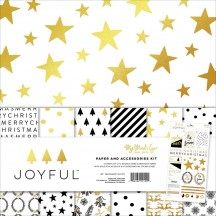 "My Mind's Eye Joyful 12""x12"" Double-Sided Christmas Paper & Accessories Kit JYF110"