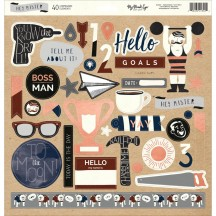 "My Mind's Eye Hey Mister 12""x12"" Adhesive Chipboard Elements MAN112"