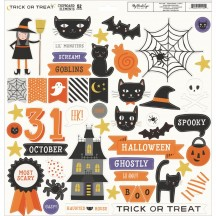 "My Mind's Eye Trick Or Treat 12""x12"" Adhesive Halloween Chipboard Elements HLW112"