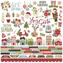 "Simple Stories Holly Jolly Christmas 12""x12"" Combo Element & Word Stickers 11401"