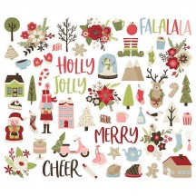 Simple Stories Holly Jolly Christmas Bits & Pieces Die-Cut Cardstock Embellishments 11420