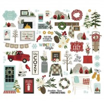 Simple Stories Winter Farmhouse Bits & Pieces Die-Cut Cardstock Embellishments 11620