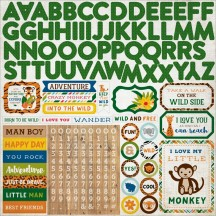 "Echo Park Jungle Safari 12""x12"" Alpha Letter Stickers JS117015"